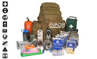 Deluxe GoBag® Standard Emergency Kit | SURVIVAL BAG UK Emergency Preparedness supplies to support two persons for 72 hours | GoBag® from EVAQ8.co.uk the UK's Emergency Prepardness specialist SURVIVAL BAG UK