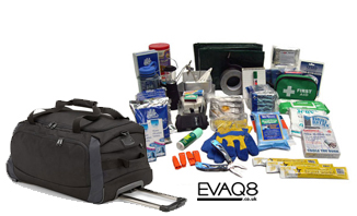 Mobile Natural Disaster Survival Kit / Go Bag | SURVIVAL BAG UK Emergency Preparedness supplies in the event of a major incident or disaster | Go Bag from EVAQ8.co.uk the UK's Emergency Prepardness specialist SURVIVAL BAG UK